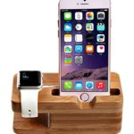 Apple Watch Stand, AICase iWatch Bamboo Wood Charging Dock Charge Station Stock Cradle Holder for Apple Watch & iPhone 6 6 plus 5S 5 (Light Brown)