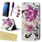 S7 Case,Samsung Galaxy S7 Case,Mavis's Diary 3D Handmade Wallet with Bling Crystal Purple Flower Shiny Diamonds Butterfly Card Holders Magnetic Flip Folio Cover & Dust Plug & Screen Protector & Stylus