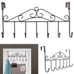 Rbenxia Over the Door Hanger Rack – Decorative Metal Hanger Holder for Home Office Use 7 Hooks Brown