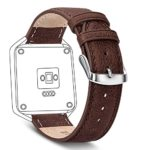 Fitbit Blaze Band, Benuo [Vintage Series] Premium Genuine Leather Strap, Retro Replacement Band with Metal Clasp Buckle for Fitbit Blaze Smart Fitness Watch (Dark Brown)