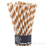 Biodegradable Paper Drinking Straws (Premium Quality), Pack of 100, Striped – Brown Stiped