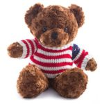 Wewill Super Cute Adorable Teddy Bear Stuffed Animal Plush Teddy Bear with Stripe Sweater Lovely Gift for Kids 15-Inch (Dark brown)
