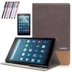 Mignova Premium PU Leather Folio Smart Cover Case Auto Sleep /Wake for All-New Amazon Fire HD 8 Case (2016 6th Generation) + Screen Protector Film and Stylus Pen (Dark Brown)