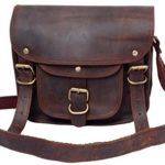 FeatherTouch Small Leather bag Mini Leather Satchel Travel crossbody purse 9X7X3 Inches Brown