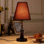 TRAVEPPY Solid Wood Table Lamp Lighting Deak Lamp Bedroom Nightstand Lamps Brown