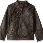 Urban Republic Little Boys' Faux Leather Jacket with Quilting Yokes, Dark Brown, 8