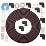 Corner Guards by Bfence Extra Large with 24ft Edge Protector, 8 corner bumpers Bonus Safety Locks, Socket Covers and Door Stopper – Babyproofing Table Edge Guards (Dark Brown)