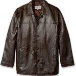 Excelled Men's Big and Tall Four-Button Lambskin Leather Car Coat, Brown, 3XL