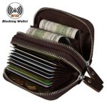 Noedy RFID Genuine Leather Card Wallet Secure Spacious Zipper Small Purses For Men & Women Brown