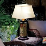 Gray Brown Faux Slate Battery Operated Outdoor Table Lamp Patio Decor Lighting