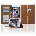 NAVOR Slim & Light Flip Wallet case with Apple Window View for iPhone 6 Plus/ 6S Plus [5.5 Inch] – Brown IP6P-F3H-BR