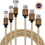 Iphone charger,DT-charger 3Pack 3FT 6FT 10FT Nylon Braided Extra Long Tangle Free Lightning Charging Cable Cord with Aluminum Heads for iPhone 6/6s/6 Plus/6s Plus/5/5c/5s/SE, iPad (Brown+Gold)