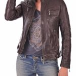 Prim leather Women's Lambskin Leather Bomber Biker Jacket Small Brown