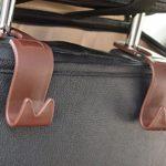 Car SUV Back Seat Headrest Hanger Storage Hooks – Purse Handbag Grocery Bag Holder(Brown Set of 4) Mayco Bell