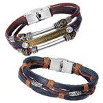 Zhenhui Mens Womens Fashion Black Brown Braided Leather Wrap Wrist Bracelet Jewelry