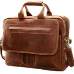 Iswee Leather Vintage Briefcase Messenger Bag for Men 14″ or 16″ Laptop Case Satchel Bag for Everyday Use (Large Light Brown)