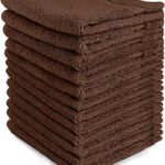 Luxury Cotton Washcloths (12-Pack, Dark Brown, 12×12 Inches) – Easy Care, Fingertip Towels, Facial Towelettes, Cotton Hand Towels – by Utopia Towels