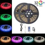 Led Strip Light Waterproof 32.8ft 10m Waterproof Flexible Color Changing RGB SMD5050 600leds LED Strip Light Kit with 44 Keys IR Remote Controller and 5A Power Supply