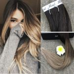 Fshine 24″ Tape in Blonde Balayage Extensions Remy Tape in Hair Ombre Color #2 Dark Brown Fading to #8 and #22 Blonde Highlighted Balayage Ombre Tape in Real Hair Extensions 20 Pcs 50 Gram Per Package