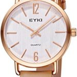 Womens Watches Analog Leather Wrist watch, Rose Gold Case Simple Watches for Women Light Brown -Voeons