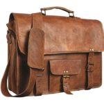 Shakun Leather Men's Genuine Vintage Brown Leather Messenger Shoulder Laptop bag Briefcase NEW