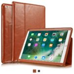 "KAVAJ iPad Case 2017 Leather Cover ""Berlin"" for Apple iPad 2017 (5th Gen.) Cognac-Brown Genuine Cowhide Leather with Built-in Stand Auto Wake/Sleep Function. Slim Fit Smart Folio covers for iPad 2017"