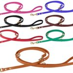 BronzeDog Adjustable Leather Dog Leash 4, 5 or 6 ft, Training Leather Dog Lead Multifunctional Hands Free Leash Black Brown Red Pink Purple Green (Light Brown)