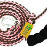 Paracord Paws Adjusting Multifunction Glow-in-The-Dark Walking Leash for Dogs, Pink/Coyote Brown