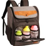 HapTim Multi-function Large Capacity Baby Diaper Bag Backpack,Fashion Cool Gift for Mother Father(Gray+Brown-5309)
