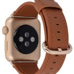 Apple Watch Band 38mm Women – PEAK ZHANG Light Brown Genuine Leather Replacement Wrist Strap with Gold Adapter and Buckle for Iwatch Series 2,Series 1,Sport,Edition