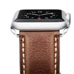 Apple Watch Series 3 Band, Benuo [Vintage Series] Premium Genuine Leather Strap, Classic Replacement with Buckle, Adapters for iWatch Series 3/2/1/Edition/Sport 38mm, White Stitching (Retro Brown)