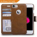 NAVOR Zevo S2 iPhone 7 Wallet Case Ultra Slim Light Premium Flip Cover – Brown (IP7ZS2BR)
