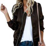 Chellysun Women's Casual Long Sleeve Zip Up Biker Bomber Quilted Lightweight Jackets Coats Outerwear
