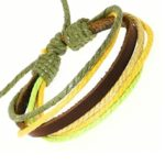 Dark Brown Leather Strap Colored Cords Leather Bracelet Leather Wristband Surf Bracelet