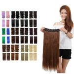 Light Brown Clip in Hair Extensions Long Straight Full Head One Piece 5 Clips 23 Inches