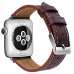 OULUOQI Apple Watch Band 42mm, Alligator Texture Leather Straps iWatch Band for Apple Watch Series 3 Series 2 Series 1 Sport Edition – Dark Brown