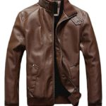 Generic Men's Vintage Stand Collar Thick Leather Jackets Brown XL