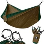 Legit Camping – Double Hammock – Lightweight Parachute Portable Hammocks for Hiking , Travel , Backpacking , Beach , Yard . Gear Includes Nylon Straps & Steel Carabiners (Dark Green/Brown)