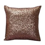 Throw Pillow Cases,Woaills Glitter Sequins Square Pillowcase Cushion Covers 16×16 With Hidden Zipper (Coffee)