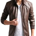 ZSHOW Men's Leather Motorcycle Jacket Casual Zipper Closure Slim Bomber Jacket(Brown,Medium)