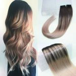 BeautyMiss 20″ PU Tape in Hair Extensions Balayage Ombre Hair Color Dark Brown Fading to Ash Blonde Highlights Real Hair Straight Remy Human Hair Extensions 100g/40pcs