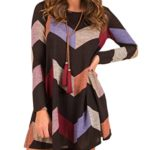 MIROL Women's Chevron Striped Tunic Color Block Long Sleeves Casual Swing T-shirt Dress with Pockets