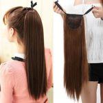 "Binding Tie up Synthetic Ribbon Ponytail Extensions Heat Resistant One Piece Drawstring Pony Tail Long Straight Soft Silky for Women Lady Girls 22"" / 22 inch (light brown)"