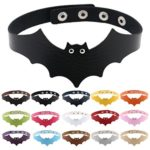 Fun Daisy Womens Adjustable Leather Choker Necklace Bat Punk Goth Halloween Necklace