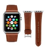 Apple Watch Band Leather 42mm, [New Version] Viodo iWatch Strap Premium Vintage Crazy Horse Genuine Leather Replacement Band for Apple Watch Series 3 Series 2 Series 1 Sport and Edition (Red Brown)