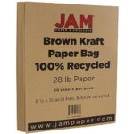 JAM Paper Recycled Paper – 8.5″ x 11″ – 28 lb Brown Kraft – 50 Sheets/Pack