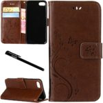 iPhone 7 Plus / 8 Plus Case, Urvoix Card Holder Stand Smooth Hand Feel PU Leather Wallet Case – Embossed Flower Butterfly Flip Cover for iPhone7 Plus / 8 Plus(5.5″ Version) Light Brown