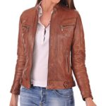 FS Lambskin Leather Women's Bomber Biker Jacket X-Large Brown