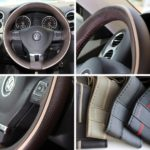 Circle Cool 47016 Dark Chocalate Brown with Beige Line PVC Leather Steering Wheel Stitch On Wrap Cover 14.5″ to 15″ Needle Thread