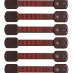 Child Safety Locks | Pairs with Dark Wood | Deluxe: Extra 3M Adhesive | Cocao Brown 6 Pack